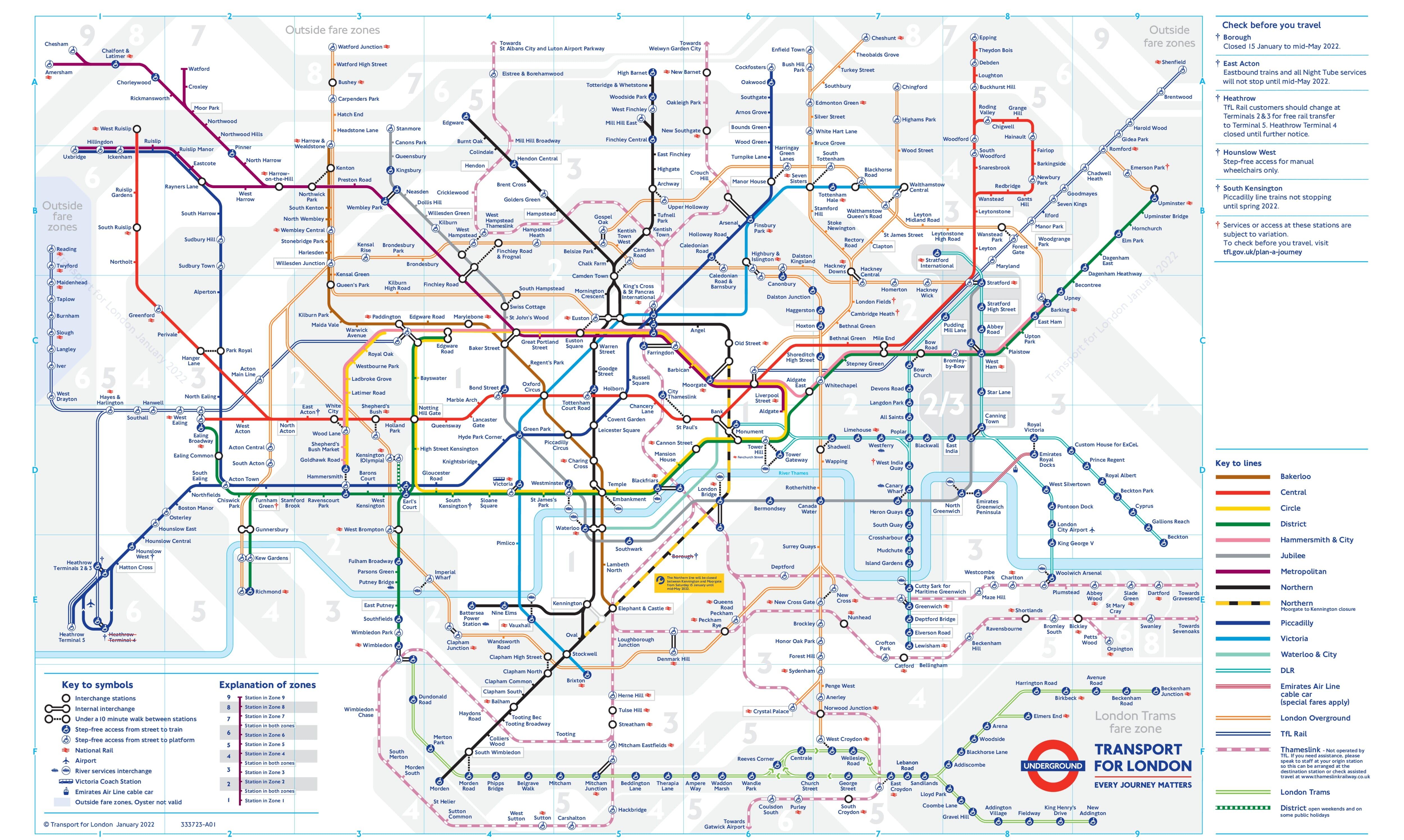 карта метро лондона с зонами