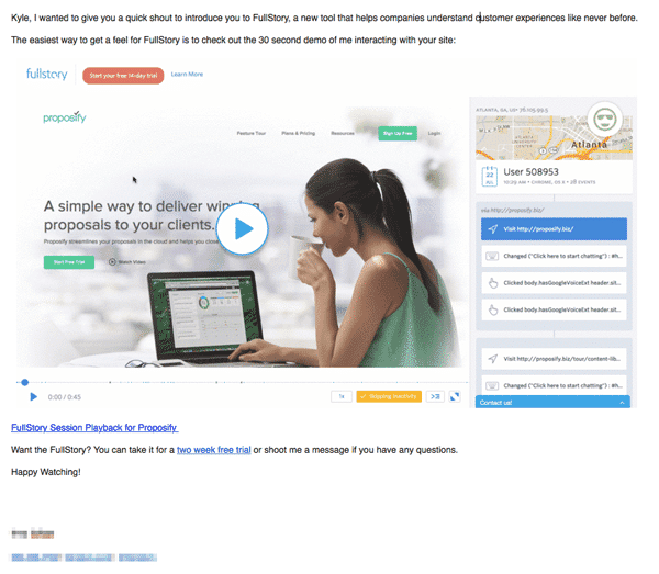 Fullstory image personalization cold email example