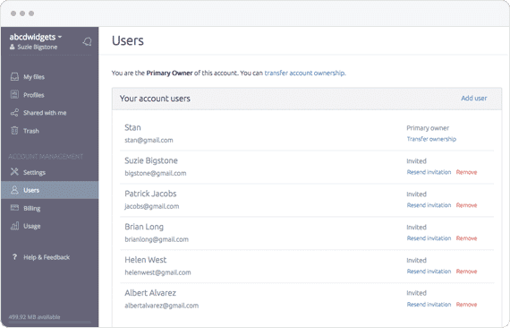 Manage panel users