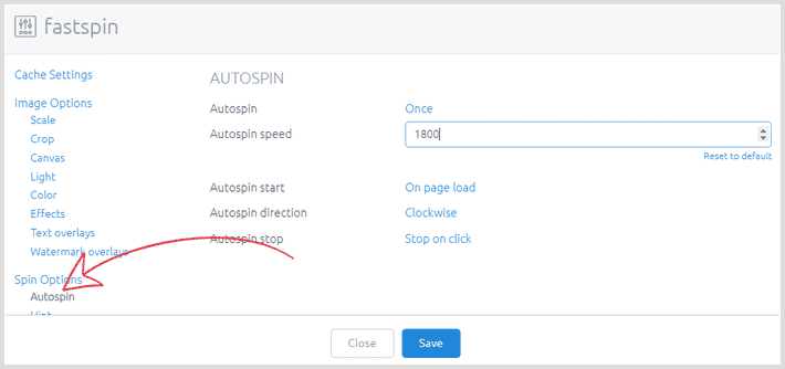 Screenshot of creating profile with different spin speed