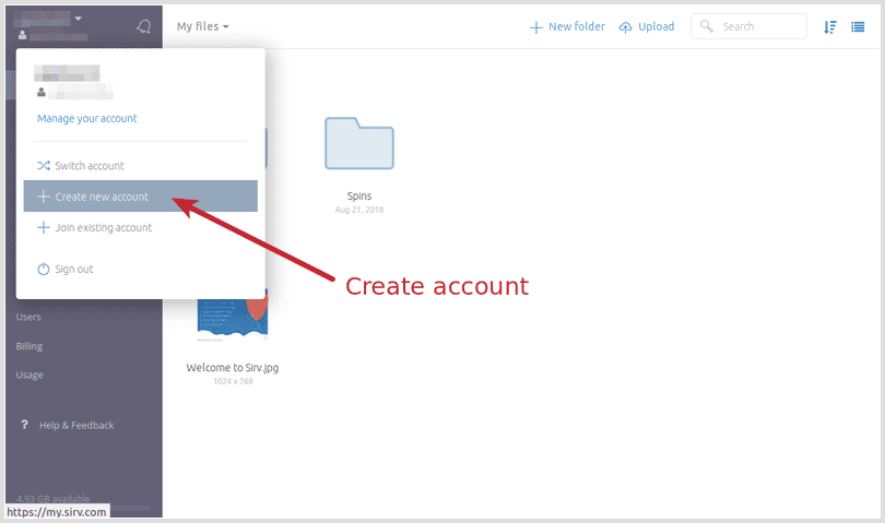 Create account from an existing Sirv account
