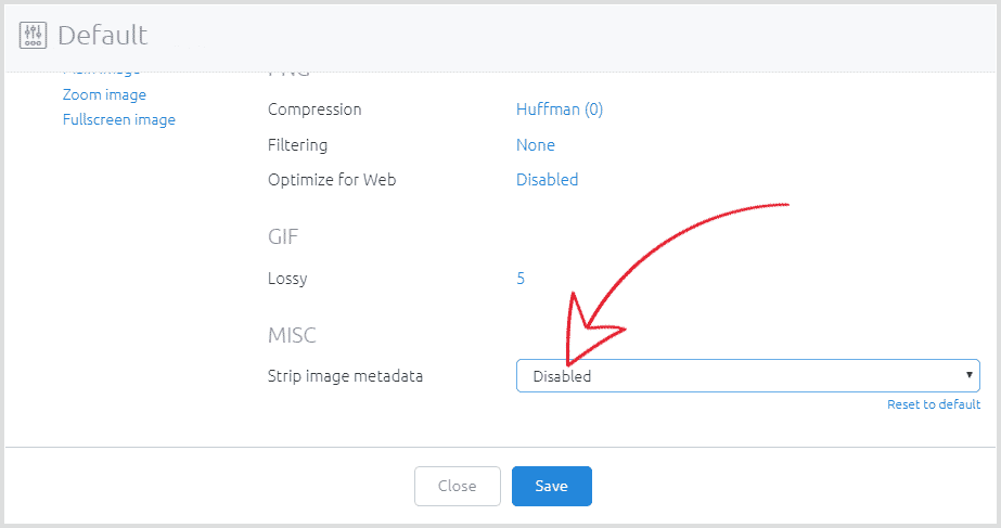 Create profile to disable metadata stripping