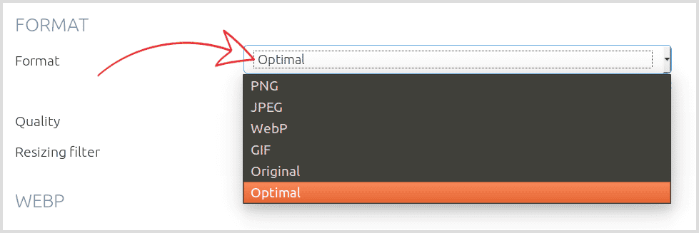 Optimal format applies PNG, JPEG or WebP