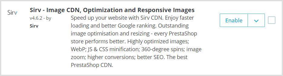 Enable button for PrestaShop CDN