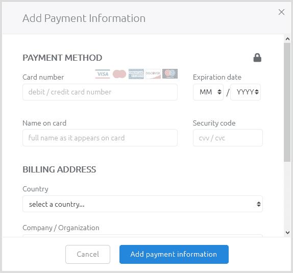 Screenshot: enter your card details