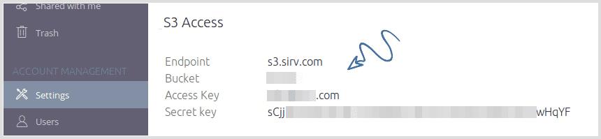 S3 access credentials screenshot